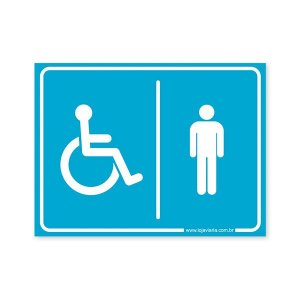 Placa Banheiro de Deficiente Físico Masculino 20x15 cm ACM 3 mm