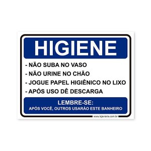 Placa Regras de Higiene 20x15 cm ACM 3 mm