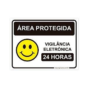 Placa Área Protegida, Vigilância Eletrônica 20x15 cm ACM 3 mm
