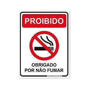Placa Proibido Fumar - 15x20 cm ACM 3 mm