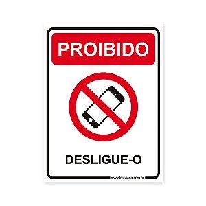 Placa Proibido Celular - 15x20 cm ACM 3 mm