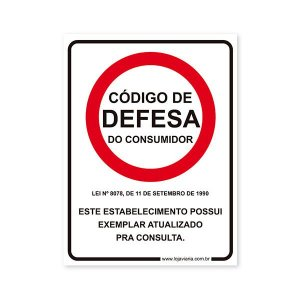 Placa Código de Defesa do Consumidor 15x20 cm ACM 3 mm