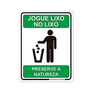 Placa Jogue Lixo no Lixo - 15x20 cm ACM 3 mm