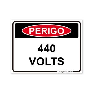 Placa Perigo, 440 Volts 20x15 cm ACM 3 mm
