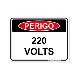 Placa Perigo, 220 Volts 20x15 cm ACM 3 mm