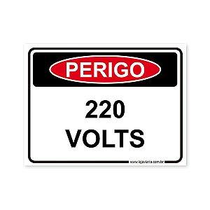 Placa Perigo, 220 Volts - 20x15 cm ACM 3 mm