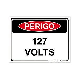 Placa Perigo, 127 Volts - 20x15 cm ACM 3 mm