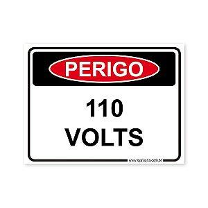 Placa Perigo, 110 Volts - 20x15 cm ACM 3 mm