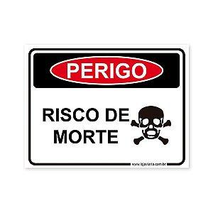 Placa Perigo, Risco de Morte - 20x15 cm ACM 3 mm