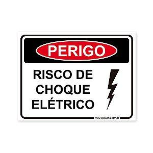 Placa Perigo, Risco de Choque Elétrico 20x15 cm ACM 3 mm