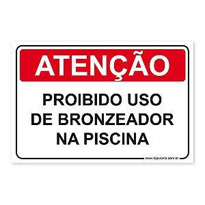 Placa Proibido Uso de Bronzeador na Piscina 30x20 cm ACM 3 mm