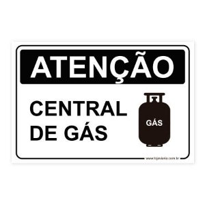 Placa Atenção, Central de Gás 30x20 cm ACM 3 mm