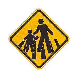Placa Passagem sinalizada de escolares A-33b