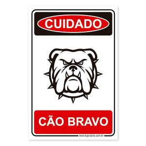 Placa Cão Bravo 20x30 cm ACM 3 mm