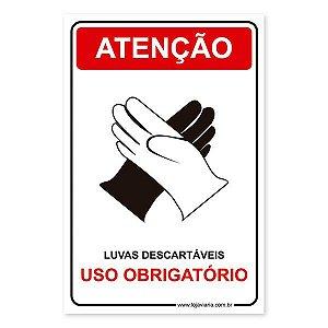 Placa Uso Obrigatório de Luvas