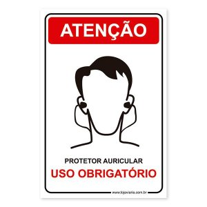 Placa Uso Obrigatório de Protetor Auricular 20x30 cm ACM 3 mm