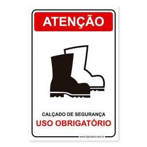 Placa Uso Obrigatório de calçado de Segurança 20x30 cm ACM 3 mm