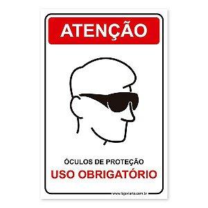 Placa Uso Obrigatório de Óculos de Proteção 20x30 cm ACM 3 mm