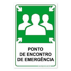 Placa Ponto de Encontro de Emergência 20x30 cm ACM 3 mm