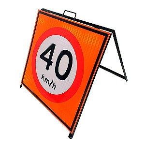 Cavalete de sinalização placa 40 km/h
