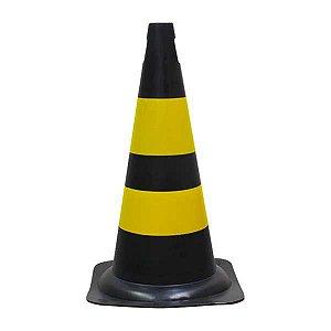Cone de sinalização PVC 50 cm - Preto/Amarelo
