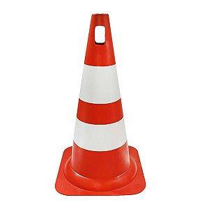 Cone para Sinalização de PVC 50cm - Laranja/Branco