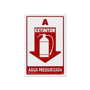Placa Fotoluminescente Extintor de Água Pressurizada - 20 x 30 cm