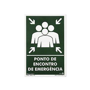 Placa Fotoluminescente Ponto de Encontro de Emergência - 20 x 30 cm
