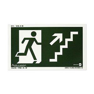 Placa Fotoluminescente Rota de Fuga de Emergência - Escada Subindo à Direita - 25 x 15 cm