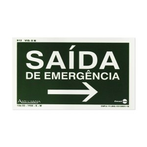 Placa Fotoluminescente Saída de Emergência à direita - 25 x 15 cm
