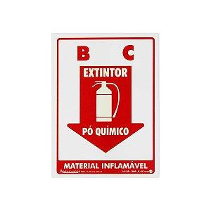 Placa Fotoluminescente Extintor Pó Químico