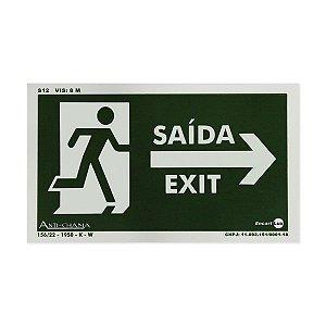 Placa Fotoluminescente Saída/Exit - Seta à Direita - 25 x 15 cm
