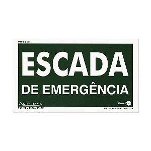 Placa Fotoluminescente Escada de Emergência - 25 x 15 cm
