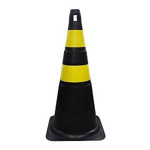Cone de Sinalização de PVC 75 cm - Preto/amarelo