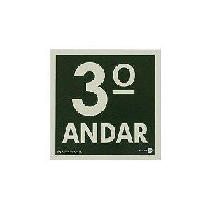 PLACA FOTOLUMINESCENTE TERCEIRO ANDAR - 18 X 18 CM