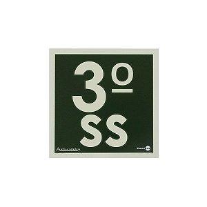 PLACA FOTOLUMINESCENTE TERCEIRO ANDAR SUB SOLO - 18 X 18 CM