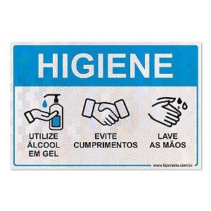 Placa de cuidados de higiene com as mãos - 30 x 20 cm ACM 3 mm