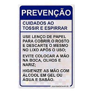 Placa de Prevenção - Cuidados ao tossir e espirrar