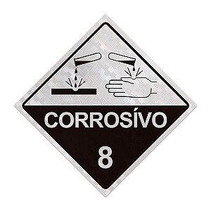 Placa para caminhão - Corrosivo 8 - 30 x 30 cm ACM 3 mm
