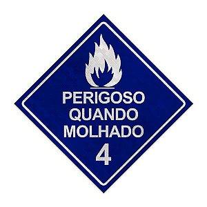 Placa para caminhão - Perigoso quando molhado 4 - 30 x 30 cm ACM  3mm
