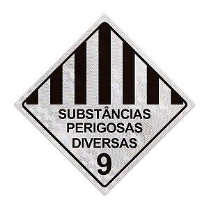 Placa para caminhão - Substâncias perigosas diversas 9 - 30 x 30 cm ACM 3 mm