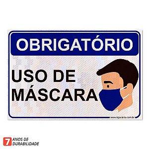 Placa uso obrigatório de mascara - 30 x20 cm ACM 3mm