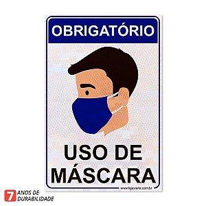 Placa Obrigatório - Uso de mascara - 20 x 30 cm ACM 3 mm