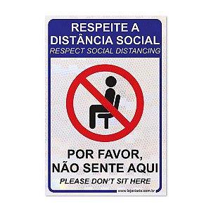 Adesivo Respeite a distância social - Não sente aqui - 20 x 30 cm