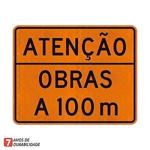 Placa Atenção Obras a 100 m
