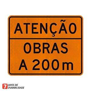 Placa Atenção Obras a 200 m