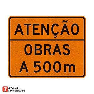 Placa Atenção Obras a 500 m