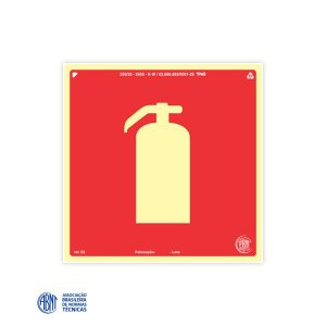 Placa Fotoluminescente - E5 Extintor de Incêndio - 20 x 20 cm