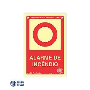 Placa Fotoluminescente - E2 Alarme de Incêndio - 15 x 20 cm
