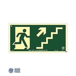 Placa Fotoluminescente - S11 Escada de emergência à direita